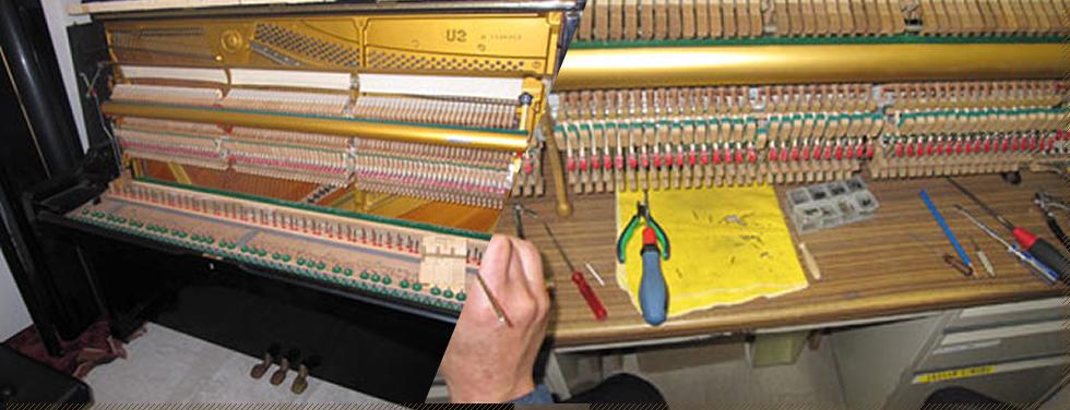 優秀なピアノ技術者がピアノの中身をしっかりと手入れしています。